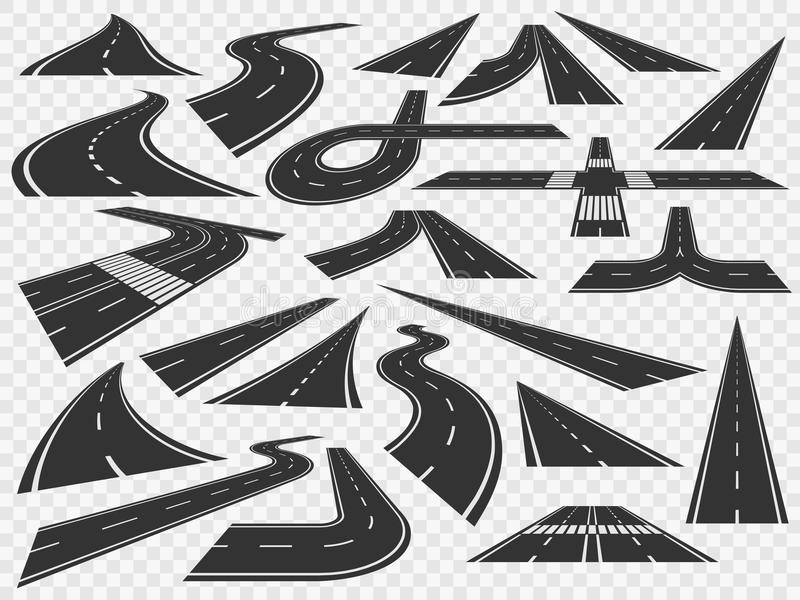 Curved road in perspective. Bending highways curves, rural bended asphalt and curving turn roads vector illustration set. Curved road in perspective. Bending royalty free illustration
