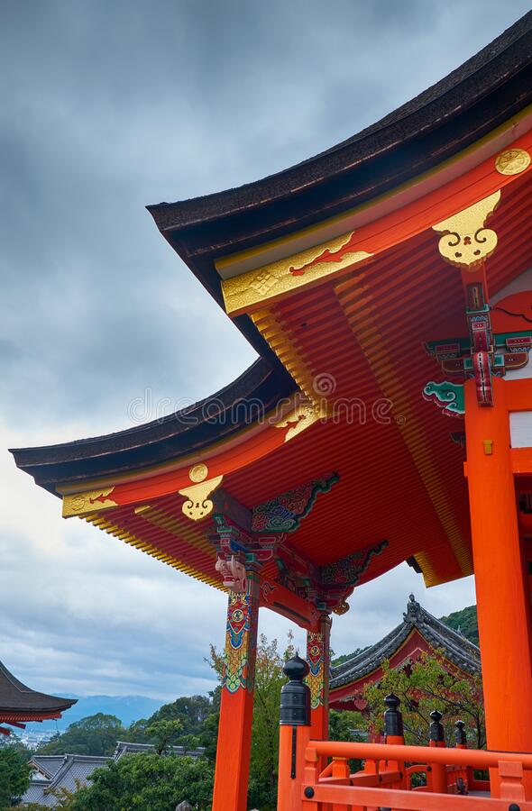 The curved roof of West Sei-mon gate. Kiyomizu-dera Temple. Kyoto. Japan royalty free stock photography