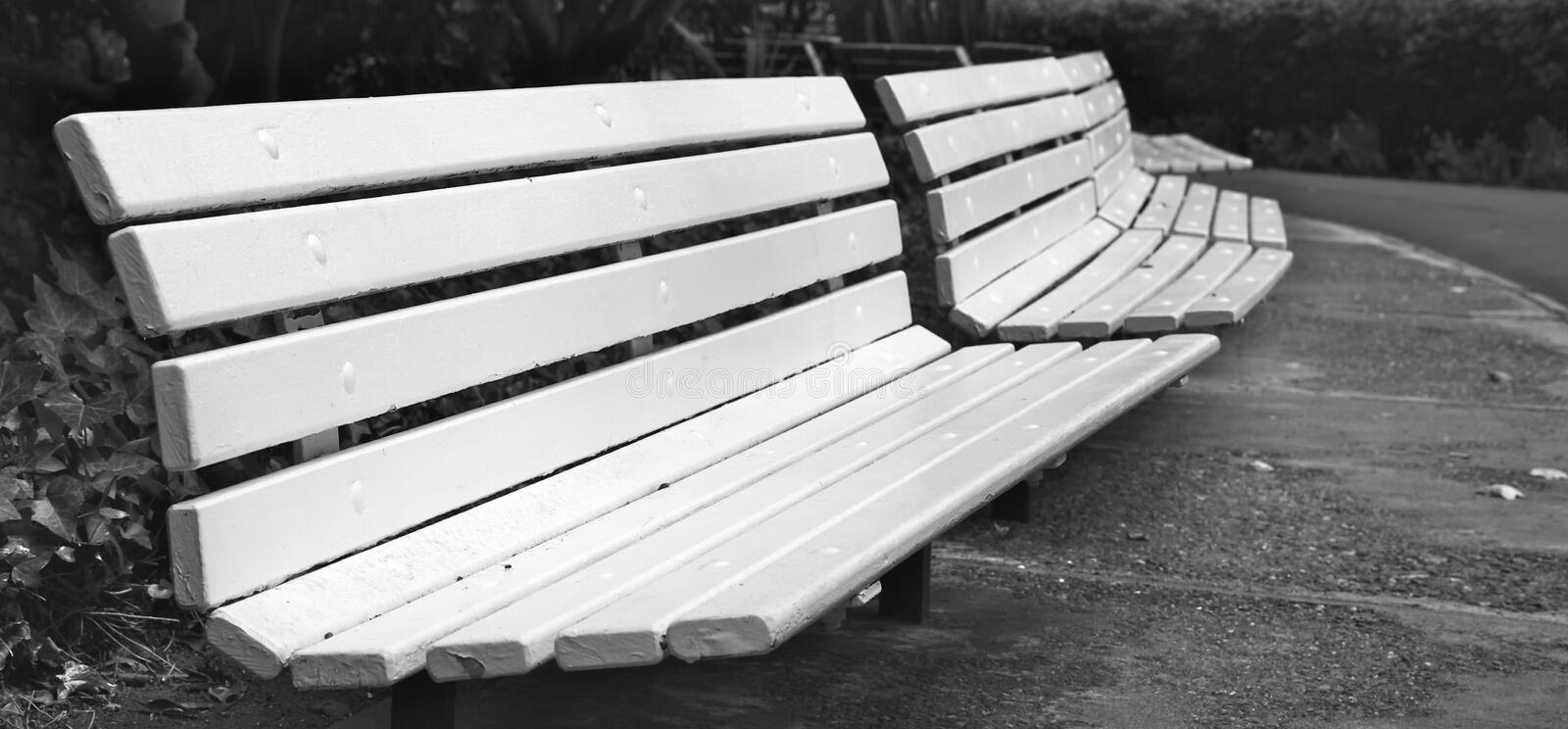 Curved Row of Park Benches Trimed. Long curved row of white park benches in B&W stock photos
