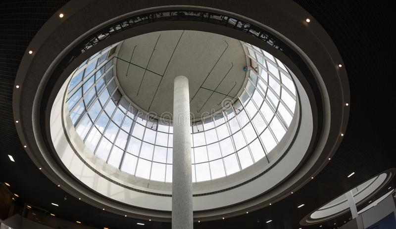 Curved Skylight Glass Roof or Ceiling of Dome with Geometric Structure Steel in Modern Contemporary Architecture Style. Curved Skylight Glass Roof or Ceiling of royalty free stock photo