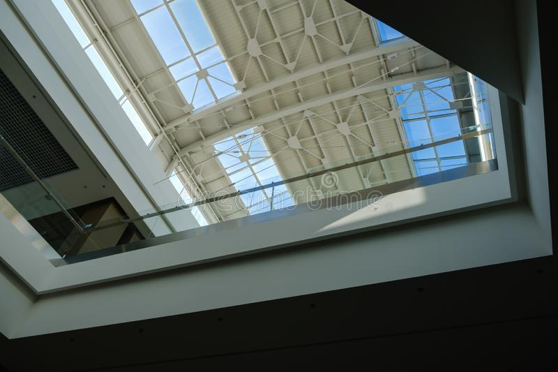 Curved Skylight Glass Roof or Ceiling of Dome with Geometric Structure Steel in Modern Contemporary Architecture Style. Curved Skylight Glass Roof or Ceiling of stock photos