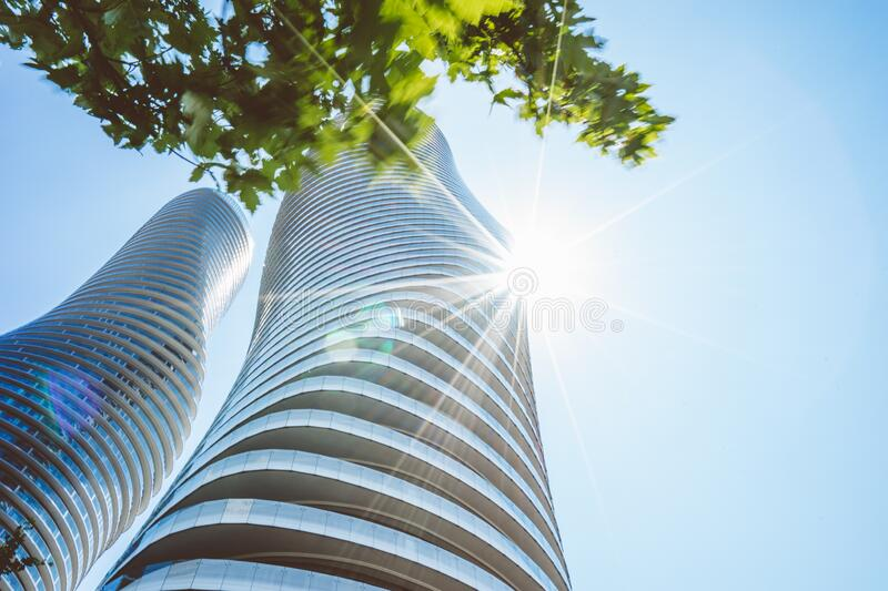 Curved Skyscrapers royalty free stock photography