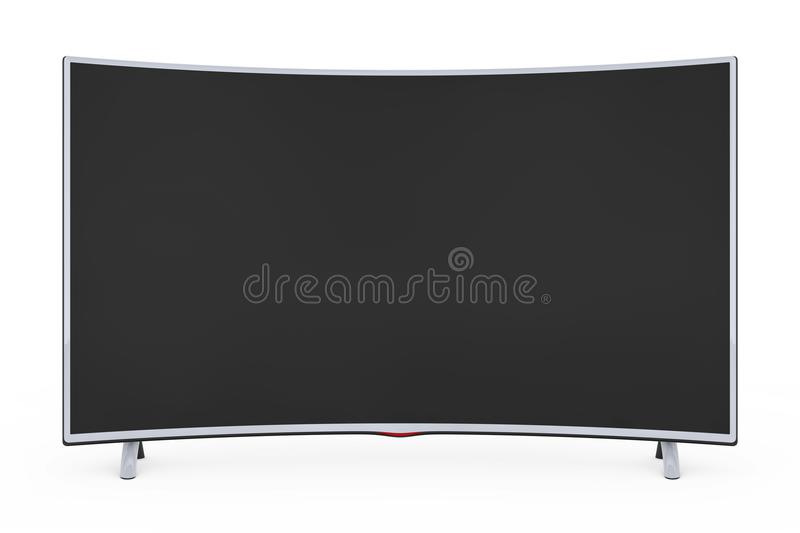 Curved Smart LCD Plasma TV or Monitor. 3d Rendering. Curved Smart LCD Plasma TV or Monitor on a white background. 3d Rendering royalty free illustration