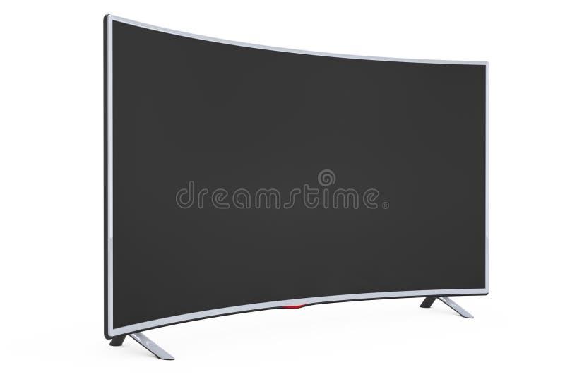Curved Smart LCD Plasma TV or Monitor. 3d Rendering. Curved Smart LCD Plasma TV or Monitor on a white background. 3d Rendering vector illustration