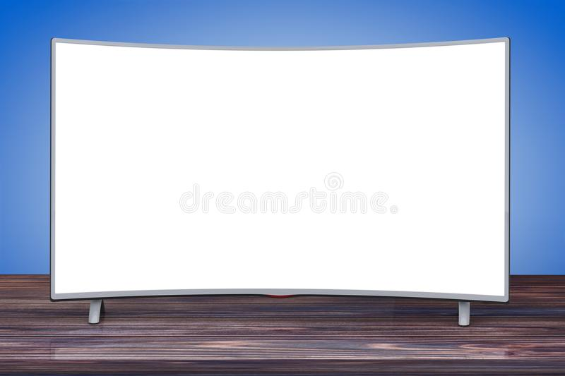 Curved Smart LCD Plasma TV or Monitor. 3d Rendering. Curved Smart LCD Plasma TV or Monitor on a wooden table. 3d Rendering stock illustration