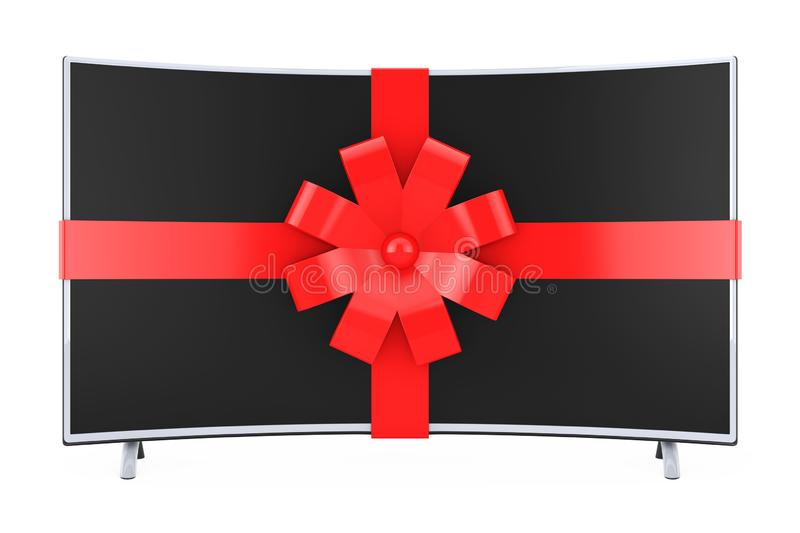 Curved Smart LCD Plasma TV or Monitor Wrapped with Red Ribbon an vector illustration