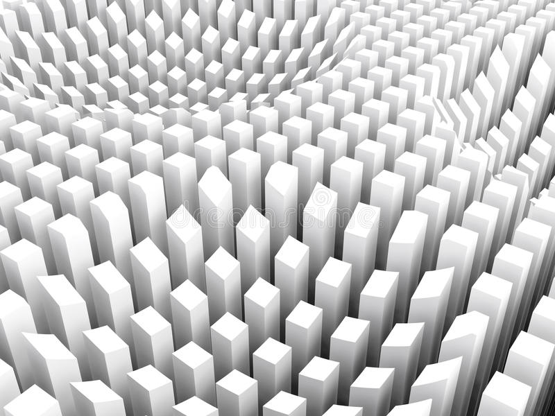 Curved surface formed white columns area array, 3d royalty free illustration