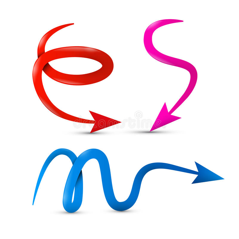 Curved Vector Red, Pink and Blue 3d Arrows Set royalty free illustration