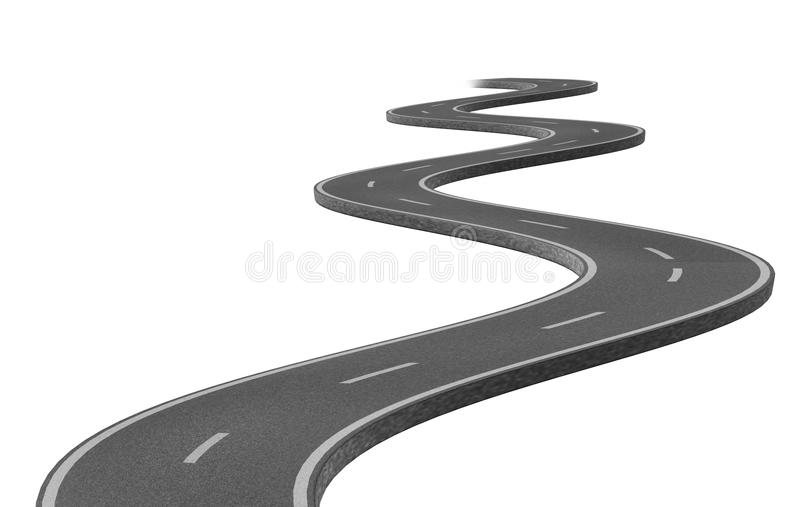 Curved winding asphalt road. Represented by a single highway on white background representing a clear focused strategic trip to a planned destination and royalty free illustration