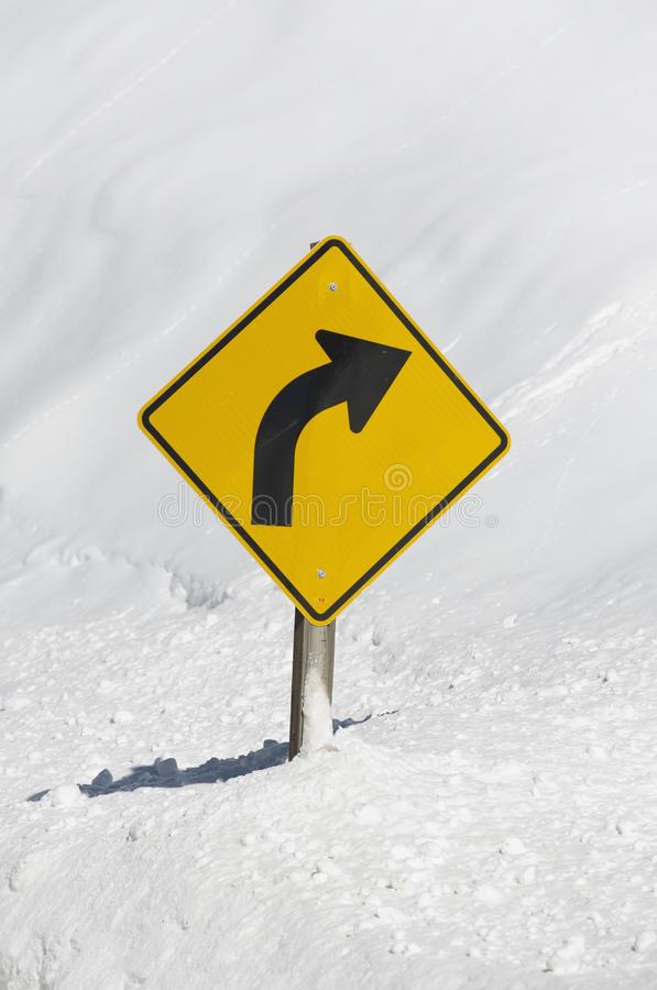 Curved Winter Road stock image