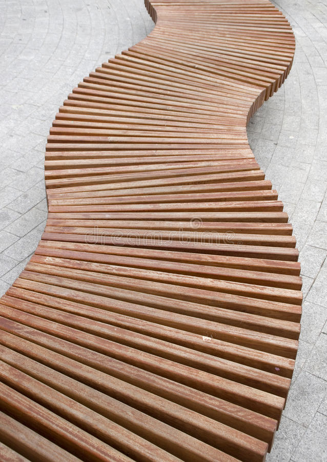 Free Curved Wood Bench Royalty Free Stock Photography - 25068077