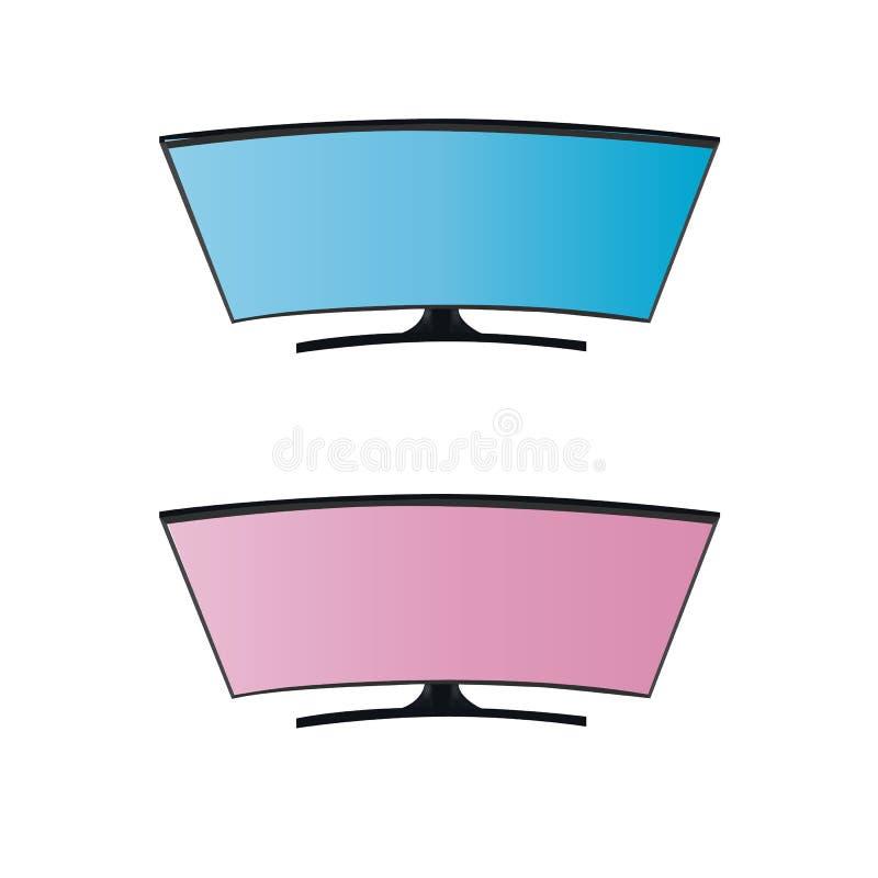 Curveds蓝色和桃红色黑屏聪明的电视 在向量图形的背景 向量例证