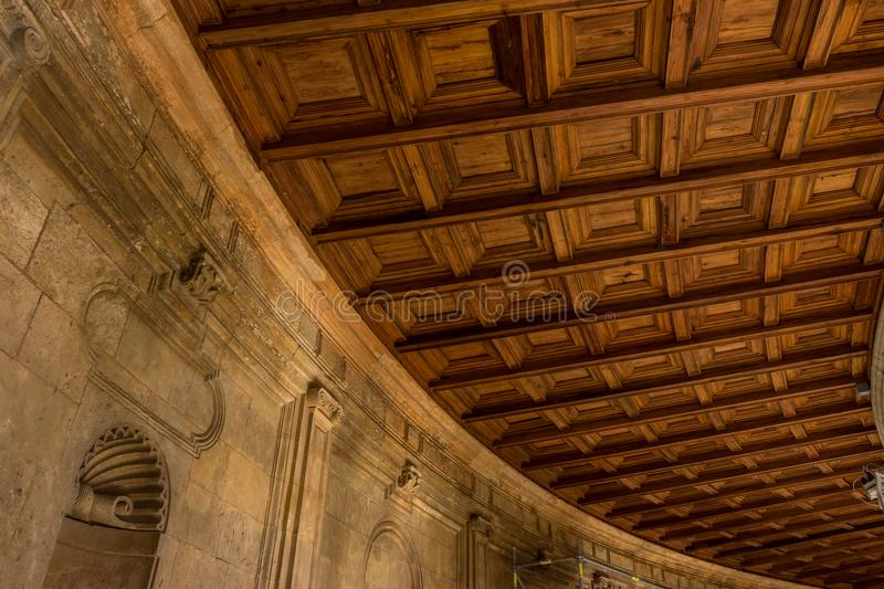 The curver ceiling at the Colosseum, columns and atrium of Alhambra palace, Granada, Spain, Europe stock image