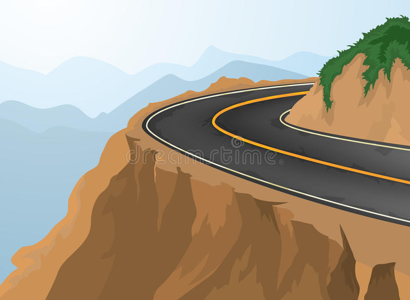 Curves and deep abyss. Road and nature background vector illustration