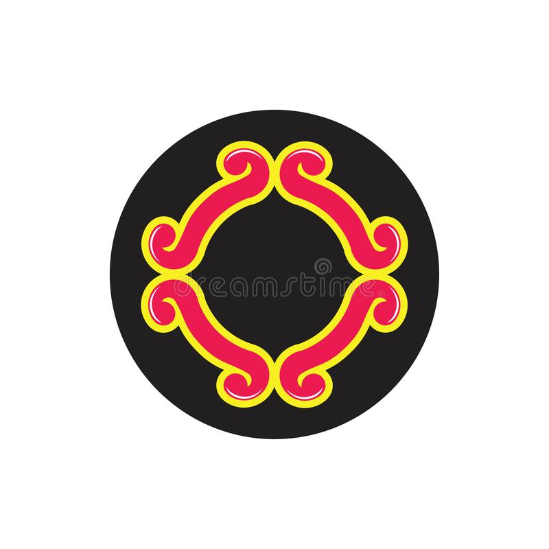 Curves loop spiral circle decoration logo vector royalty free illustration