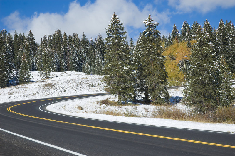 Download Curving Road stock photo. Image of landscapes, snow, colorado - 1614370