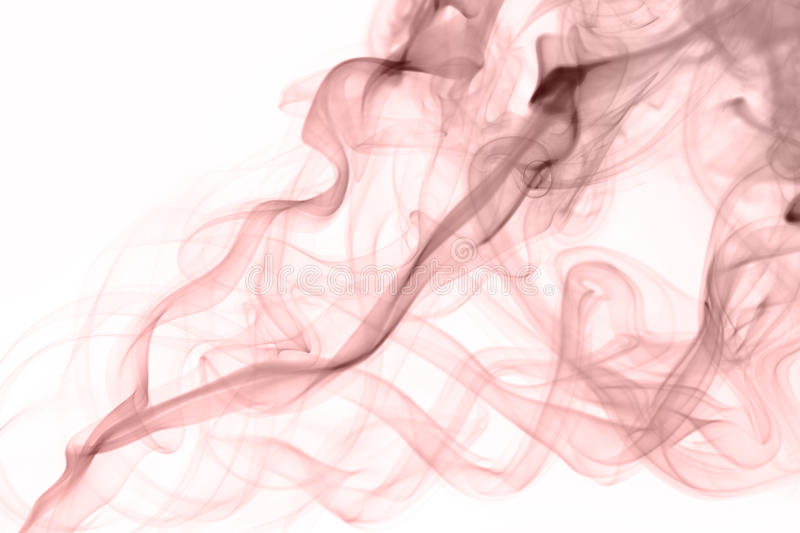 Curving rose quartz color smoke on white background stock photography