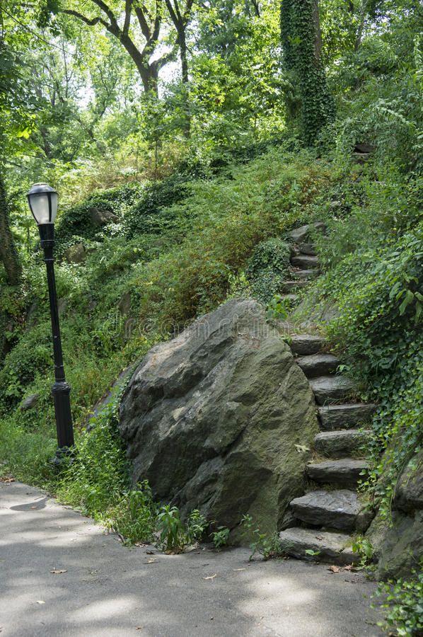 Curving Set of Stairs Manhattan Cloisters Fort Tryon Park stock images