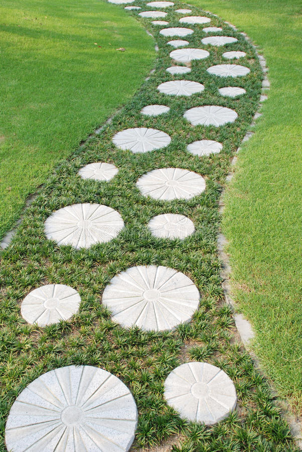 Free Curving Stepping Stone Path In The Garden Royalty Free Stock Photography - 9888797