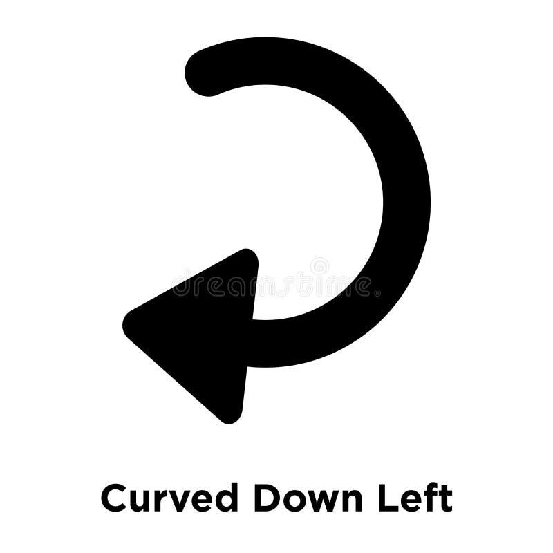 Curvo giù il vettore dell'icona della freccia sinistra isolato su fondo bianco, illustrazione di stock
