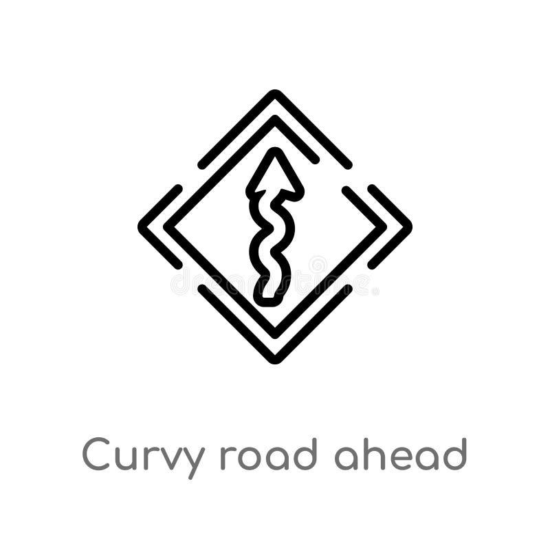 curvy οδικό μπροστά διανυσματικό εικονίδιο περιλήψεων απομονωμένη μαύρη απλή απεικόνιση στοιχείων γραμμών από την έννοια ενδιάμεσ ελεύθερη απεικόνιση δικαιώματος