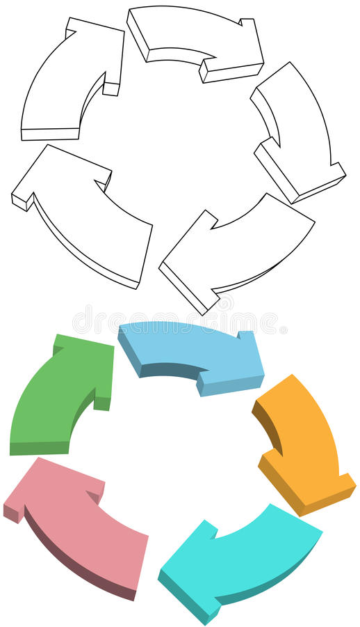 Curvy Arrows cycle recycle colors drawing stock illustration