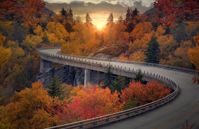Curvy autumn road royalty free stock image