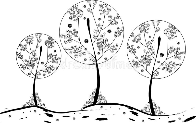 Curvy fairy trees royalty free stock images