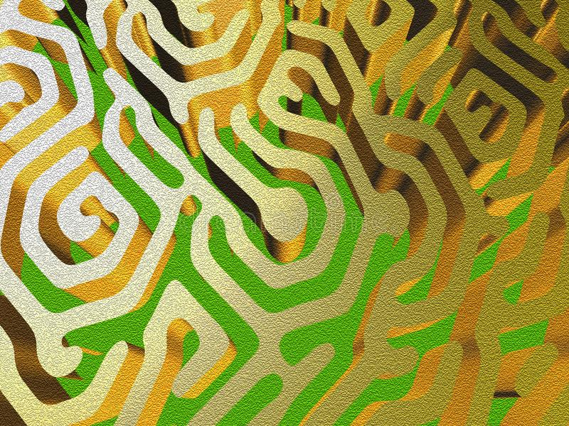 Curvy gouden labyrint vector illustratie