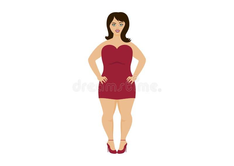 Curvy kobieta w czerwieni sukni wektorze royalty ilustracja