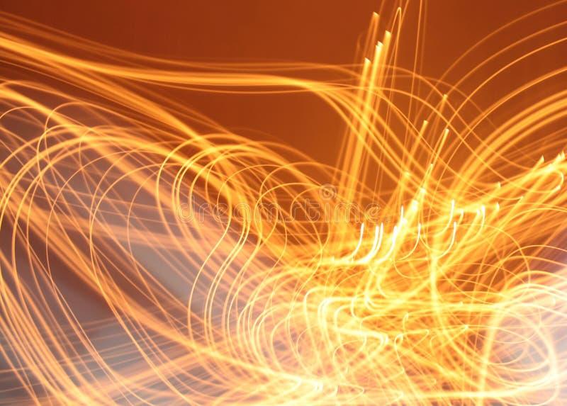 Curvy Linien des orange hellen klaren Infernolichtes entwerfen Hintergrund stockbilder