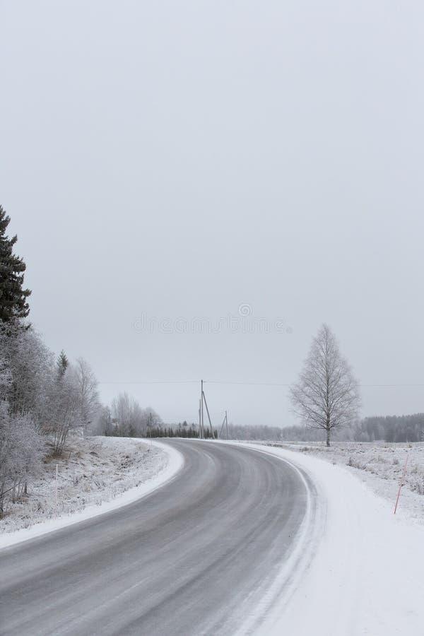 Curvy och hal väg på en vinterdag royaltyfria foton