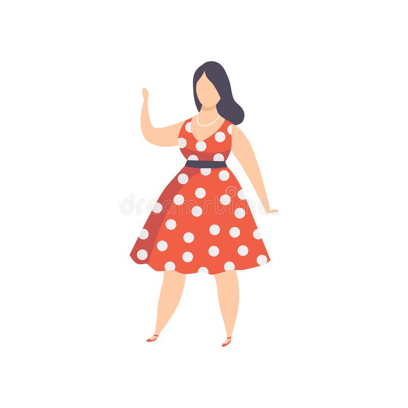 Curvy, overweight girl in red polka dot retro dress, beautiful plus size fashion woman, body positive vector stock illustration