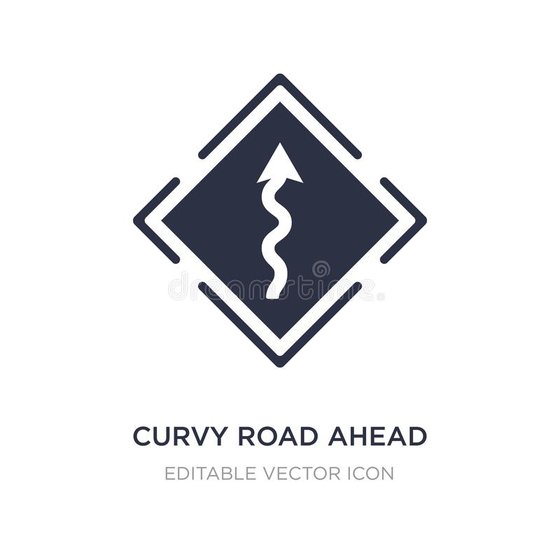 curvy road ahead icon on white background. Simple element illustration from UI concept stock illustration