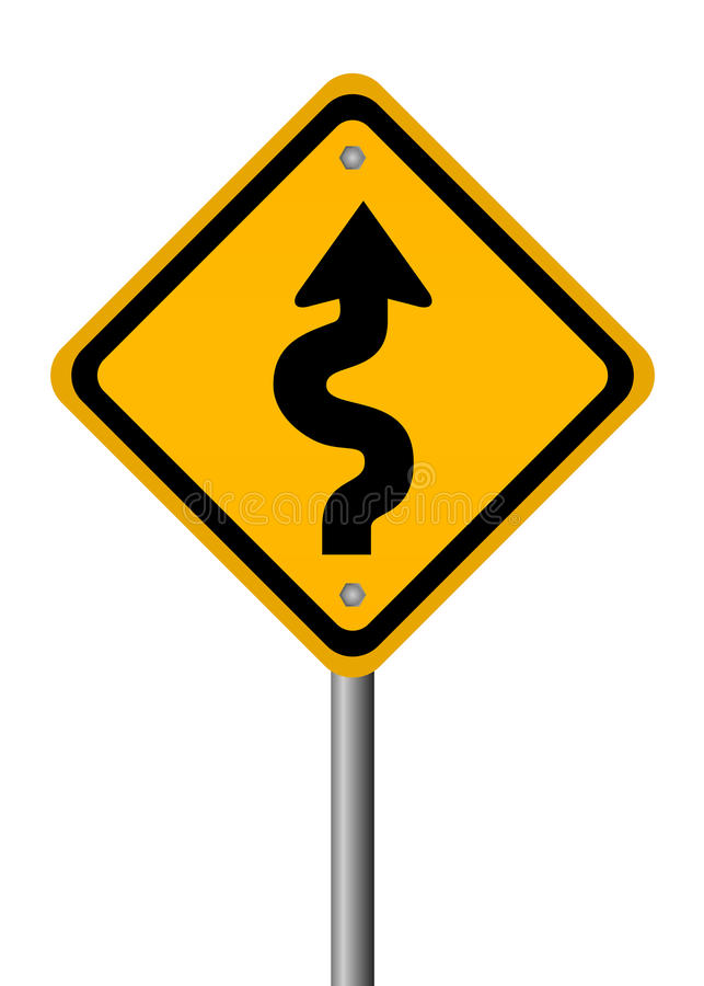 Curvy road sign. Isolated on white background vector illustration