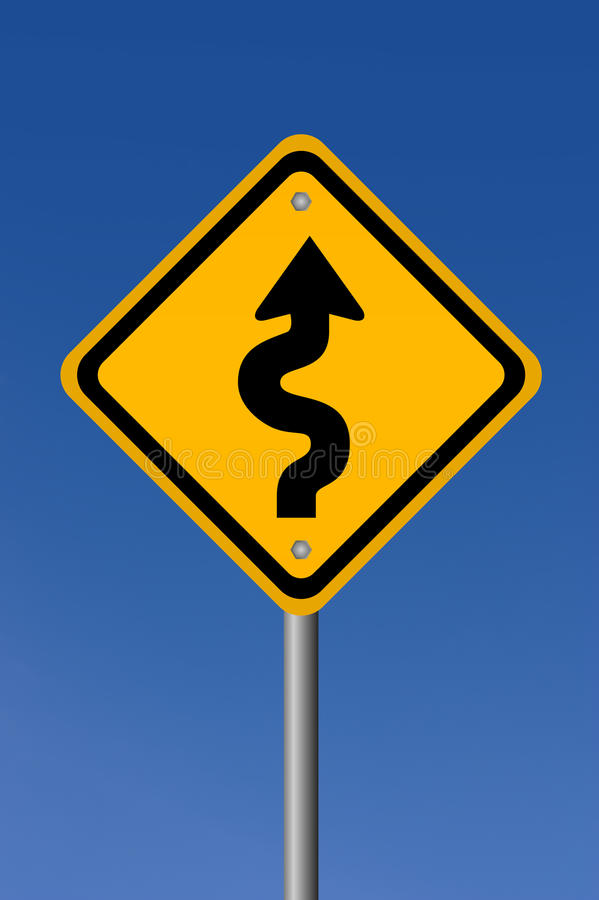 Curvy road sign royalty free illustration
