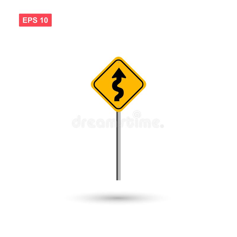 Curvy road sign vector with pole isolated vector illustration
