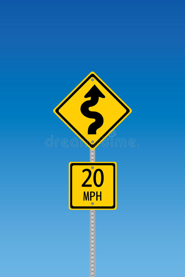 Curvy road warning sign royalty free illustration
