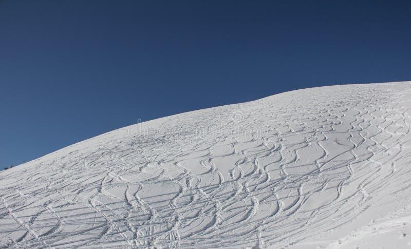 Download Curvy Ski Tracks In The Snow Stock Afbeelding - Afbeelding bestaande uit poeder, openlucht: 39105615