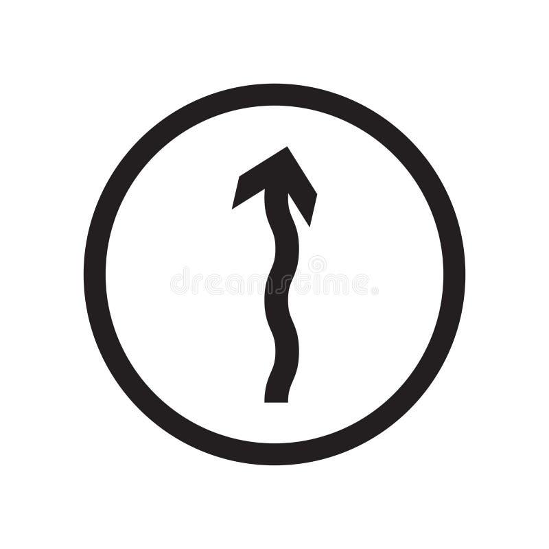 Curvy Straßen-Warnzeichenikonenvektorzeichen und -symbol lokalisiert auf weißem Hintergrund, Curvy Straßen-Warnzeichenlogokonzept vektor abbildung