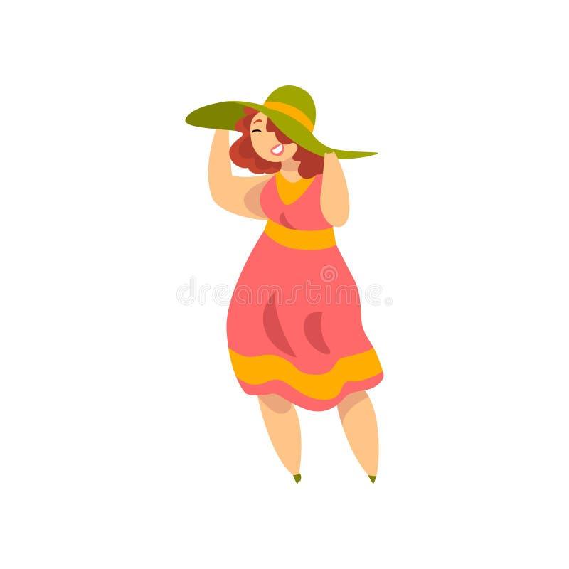 Curvy, te zwaar meisje in modieuze kleren, plus groottemanier, lichaams positieve vectorillustratie op een wit vector illustratie