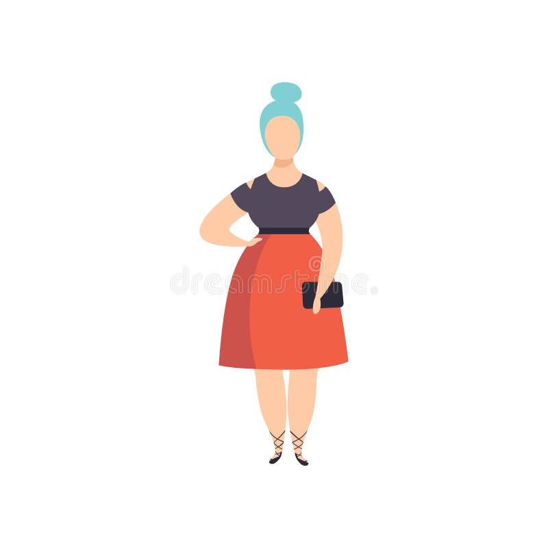 Curvy, te zwaar modieus meisje met blauw geverft haar, mooi plus de vrouw van de groottemanier, lichaams positieve vector vector illustratie