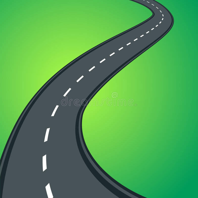 curvy väg för asfalt stock illustrationer