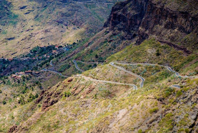 Curvy vägar i Tenerife royaltyfria foton