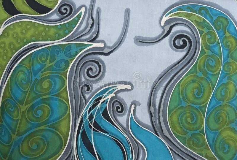 Curvy växtillustration - batiktextil arkivfoton