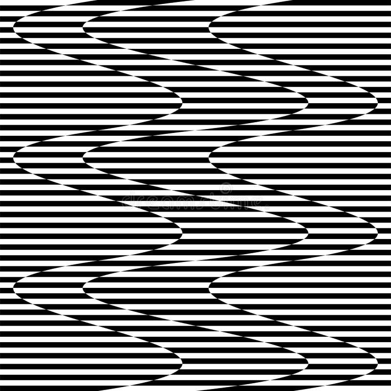Curvy vinkande linjer abstrakt geometribeståndsdel Monokrom distor vektor illustrationer