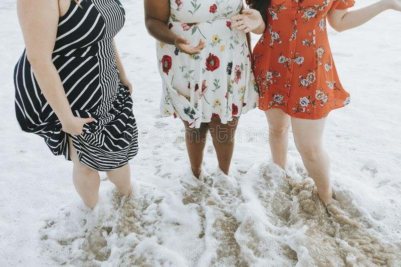 Curvy women at the beach stock images