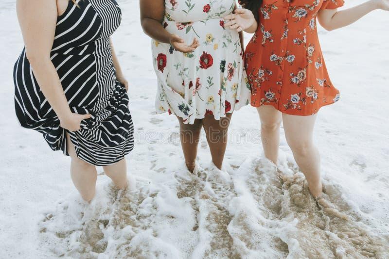 Curvyvrouwen bij het strand stock afbeeldingen
