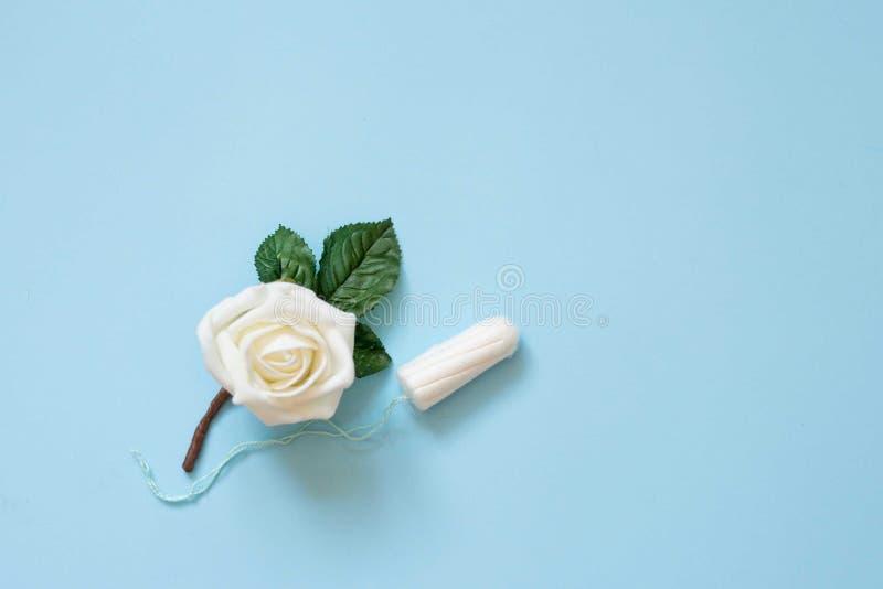 Cuscinetti di cotone mestruali del tampone su fondo blu con il fiore bianco Foto di concezione di igiene della donna Protezione t fotografia stock libera da diritti