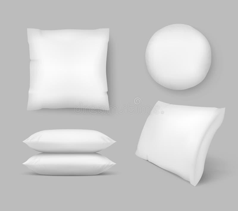 Cuscini comodi realistici cuscino pulito lanuginoso di comodit? di vettore 3d - tondo e quadro Grafico isolato del modello illustrazione vettoriale